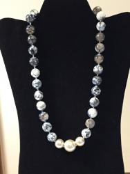 """21 ½"""" Blue Gemstones and Fw Pearls"""