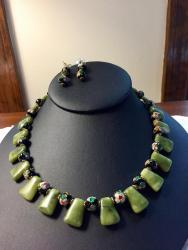 "18 ½"" Jade and Cloisonné Necklace with matching Earrings"
